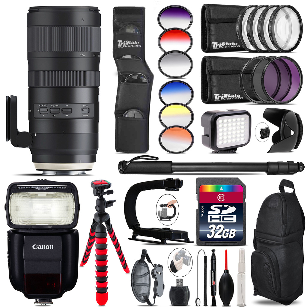Tamron 70-200mm G2  for Canon + Speedlite 430EX + LED - 32GB Accessory Kit *FREE SHIPPING*