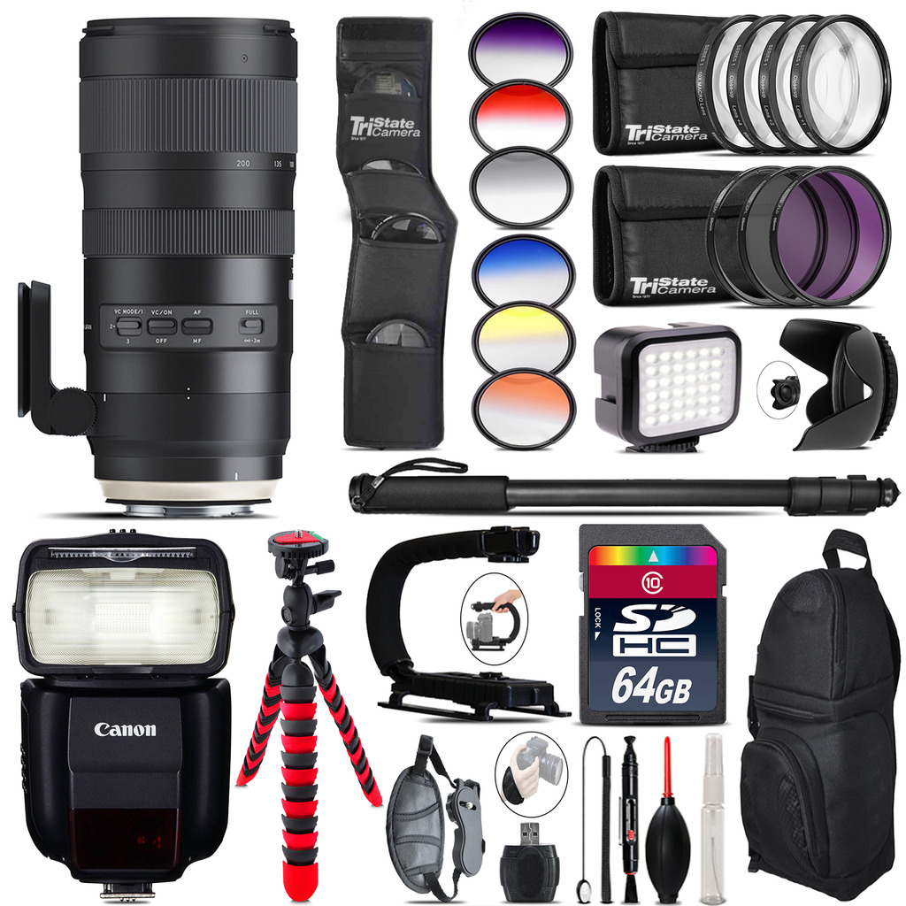 Tamron 70-200mm G2  for Canon + Speedlite 430EX + LED - 64GB Accessory Kit *FREE SHIPPING*