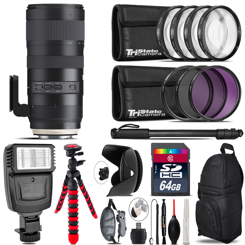 Tamron 70-200mm G2  for Nikon + Flash +  Tripod & More - 64GB Accessory Kit *FREE SHIPPING*