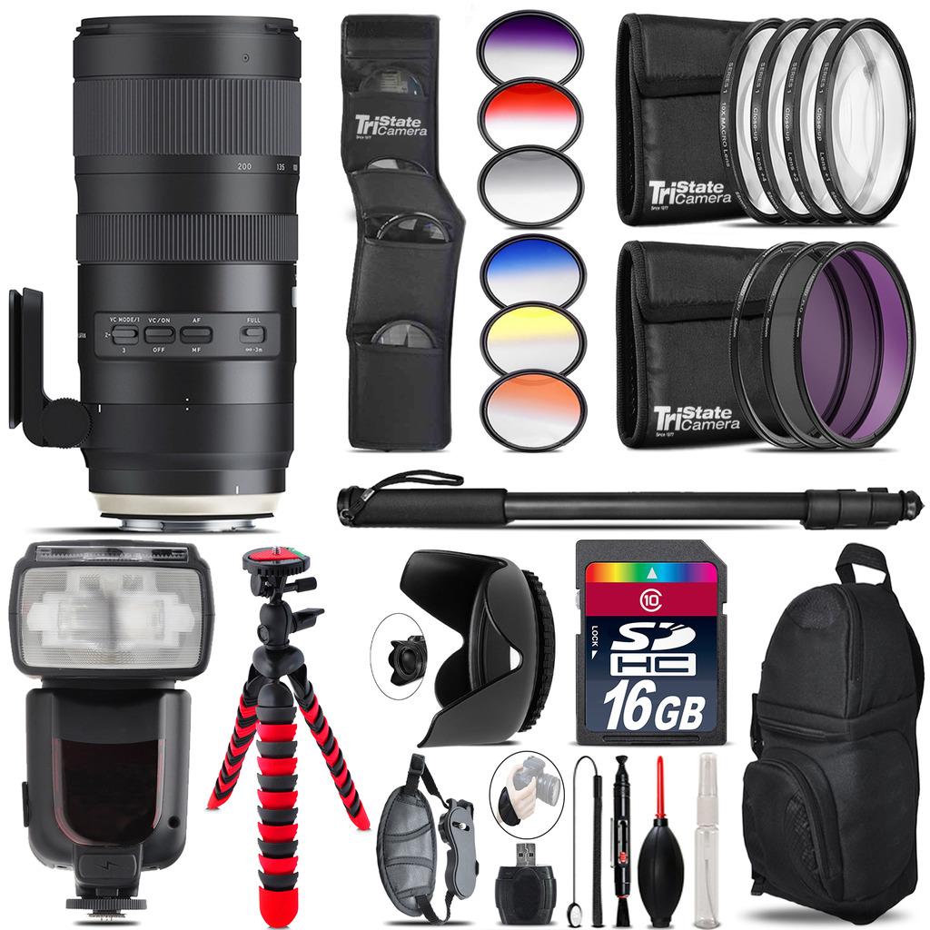 Tamron 70-200mm G2  for Nikon + Pro Flash + Filter Kit - 16GB Accessory Kit *FREE SHIPPING*