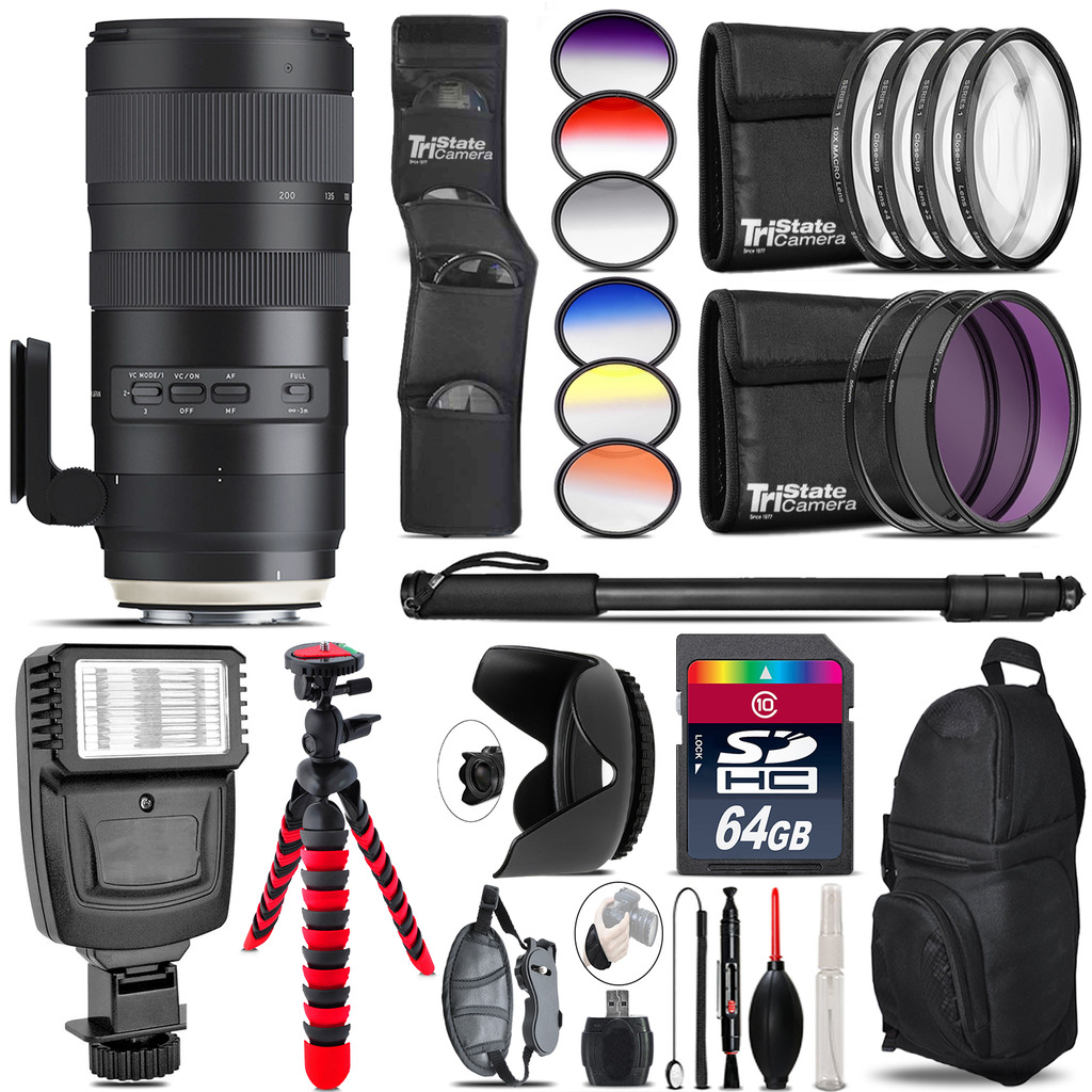 Tamron 70-200mm G2  for Nikon + Flash + Color Filter Set - 64GB Accessory Kit *FREE SHIPPING*