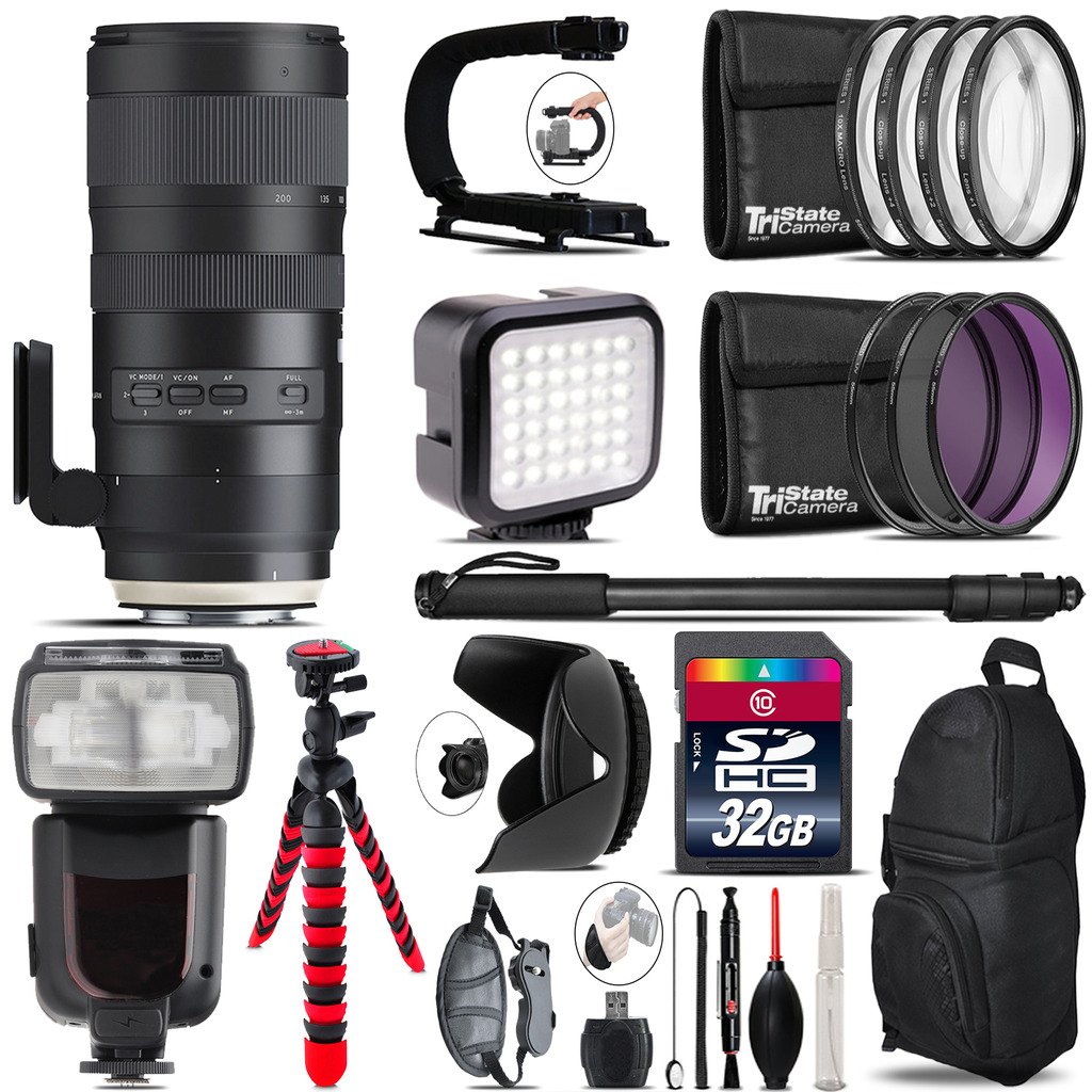Tamron 70-200mm G2  for Nikon - Video Kit + Pro Flash - 32GB Accessory Bundle *FREE SHIPPING*