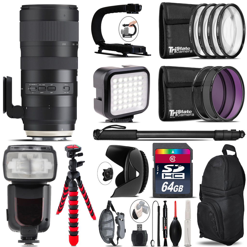 Tamron 70-200mm G2  for Nikon - Video Kit + Pro Flash - 64GB Accessory Bundle *FREE SHIPPING*