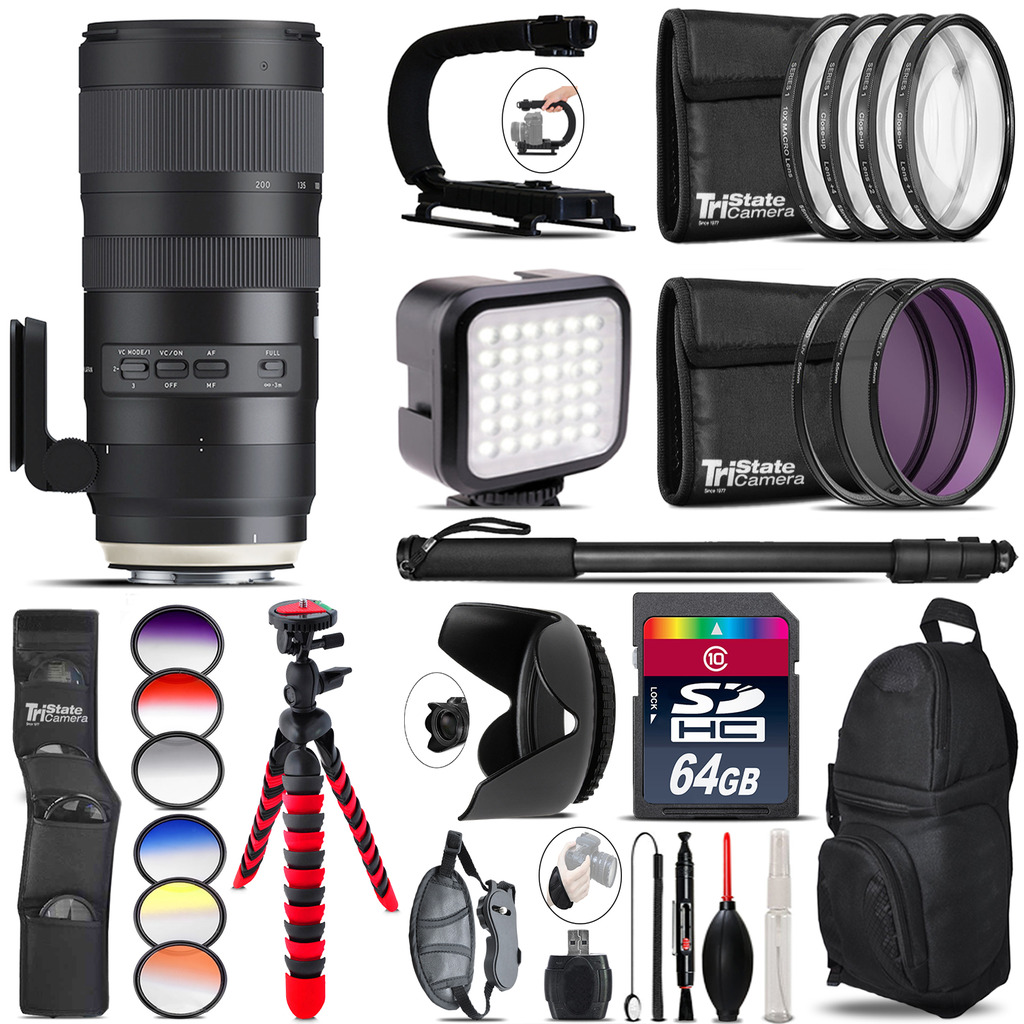 Tamron 70-200mm G2  for Nikon - Video Kit + Color Filter - 64GB Accessory Kit *FREE SHIPPING*