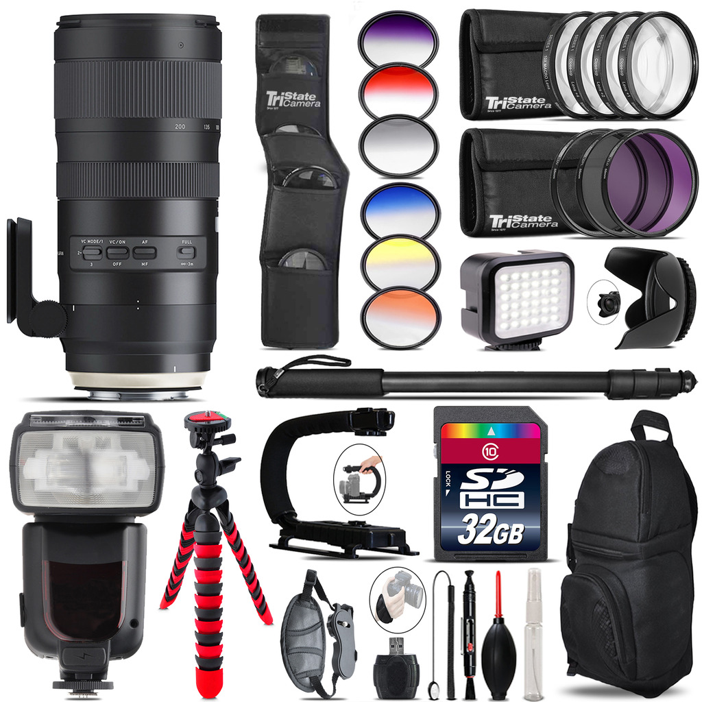 Tamron 70-200mm G2  for Nikon + Pro Flash + LED Light - 32GB Accessory Bundle *FREE SHIPPING*