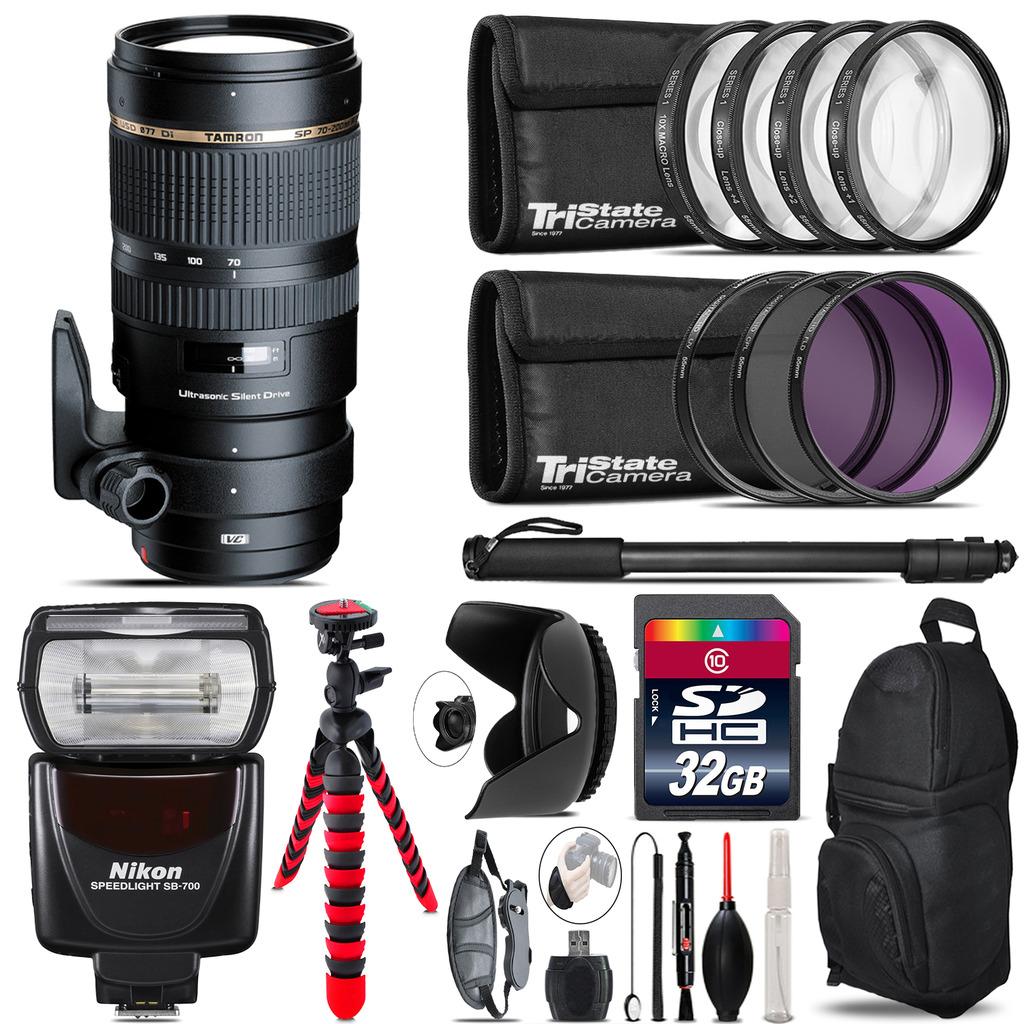 Tamron 70-200mm VC  for Nikon + SB-700 AF Speedlight  & More - 32GB Kit *FREE SHIPPING*