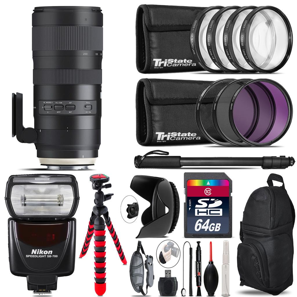 Tamron 70-200mm G2  for Nikon + SB-700 AF Speedlight  & More - 64GB Kit *FREE SHIPPING*