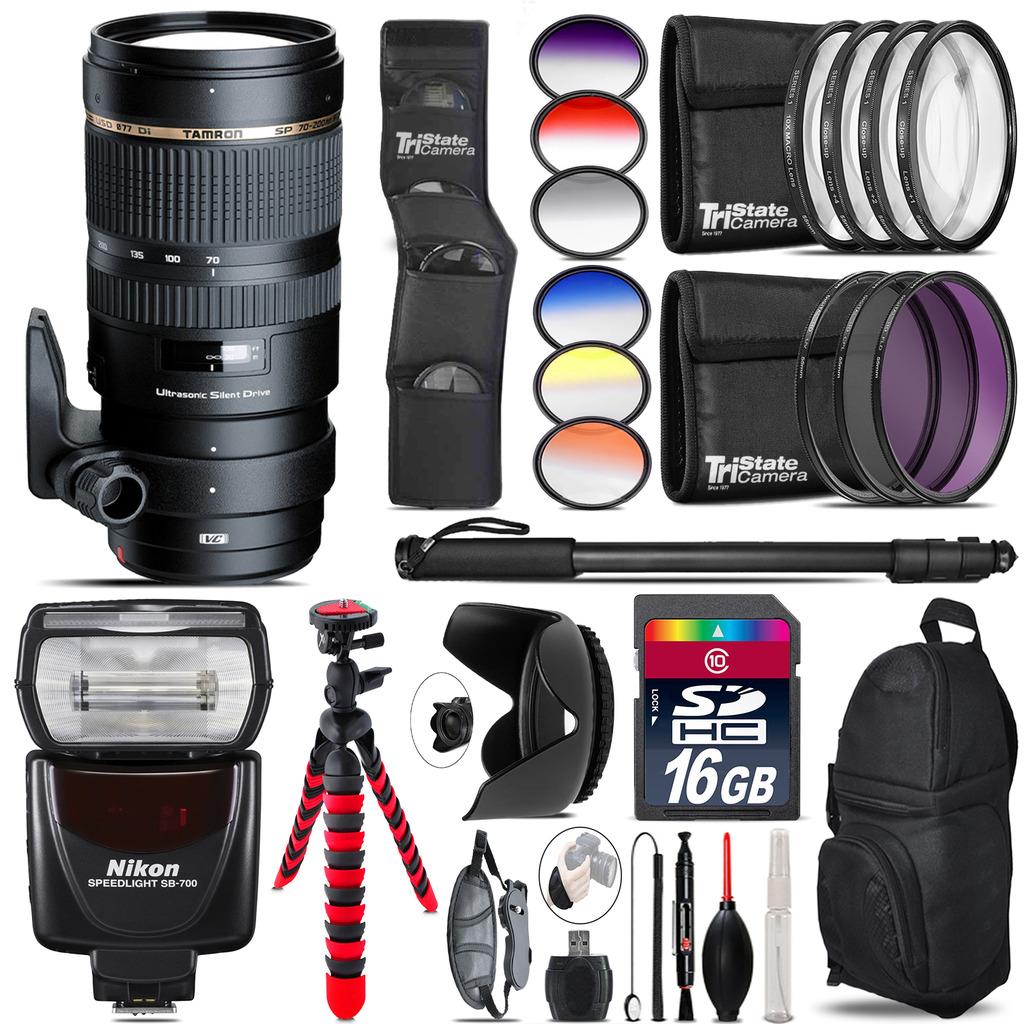 Tamron 70-200mm VC  for Nikon + SB-700 AF Speedlight - 16GB Accessory Kit *FREE SHIPPING*