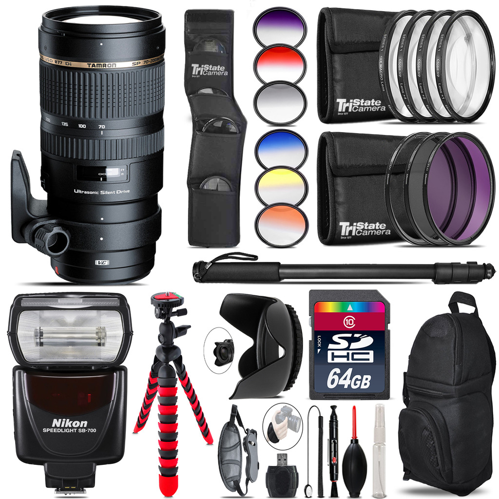 Tamron 70-200mm VC  for Nikon + SB-700 AF Speedlight  - 64GB Accessory Kit *FREE SHIPPING*