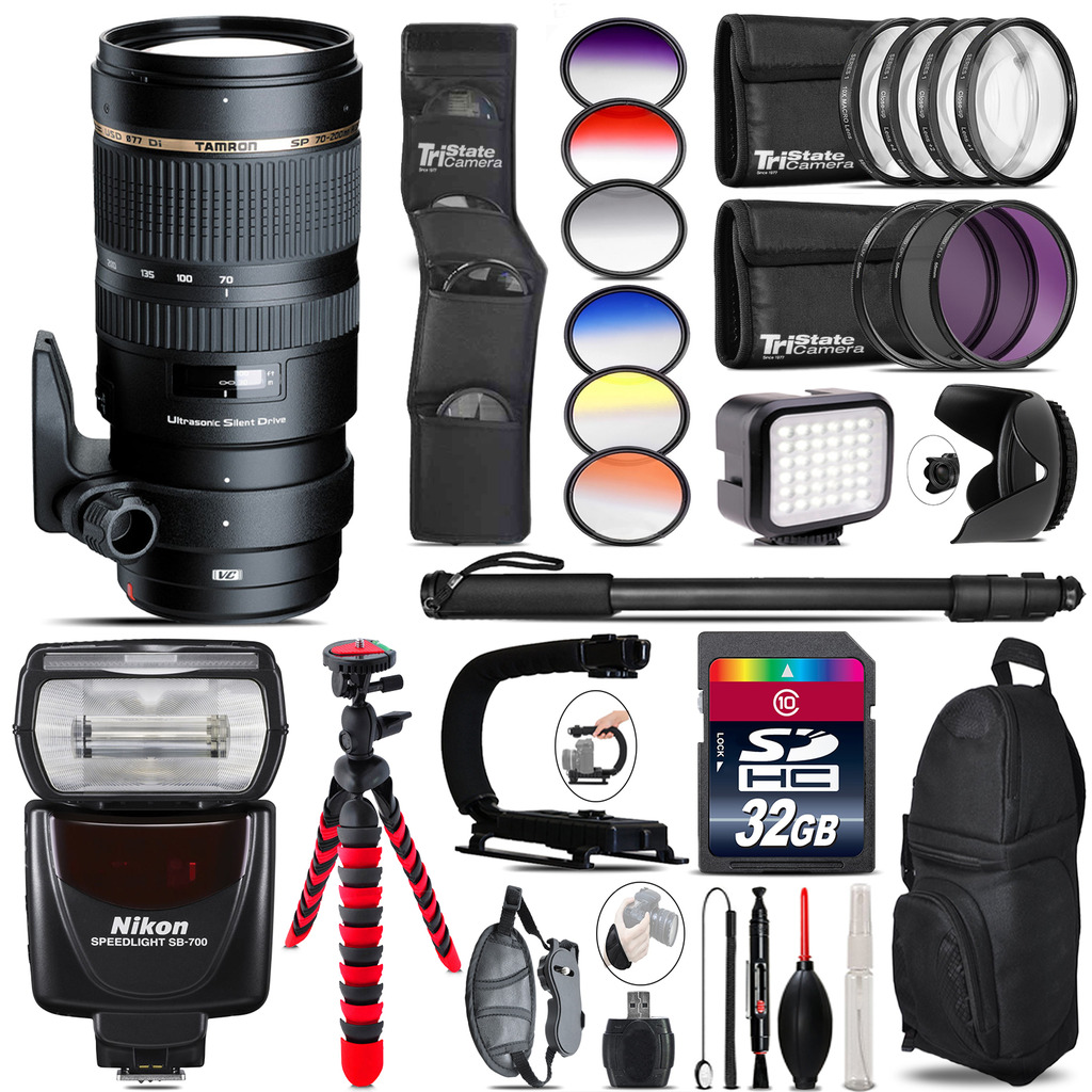 Tamron 70-200mm VC  for Nikon + Speedlite 430EX + LED - 32GB Accessory Kit *FREE SHIPPING*