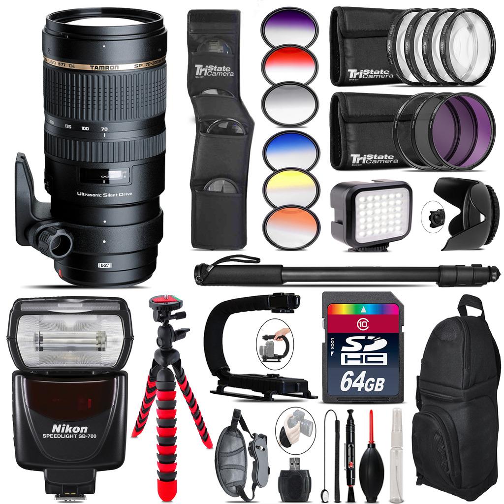 Tamron 70-200mm VC  for Nikon + Speedlite 430EX + LED - 64GB Accessory Kit *FREE SHIPPING*