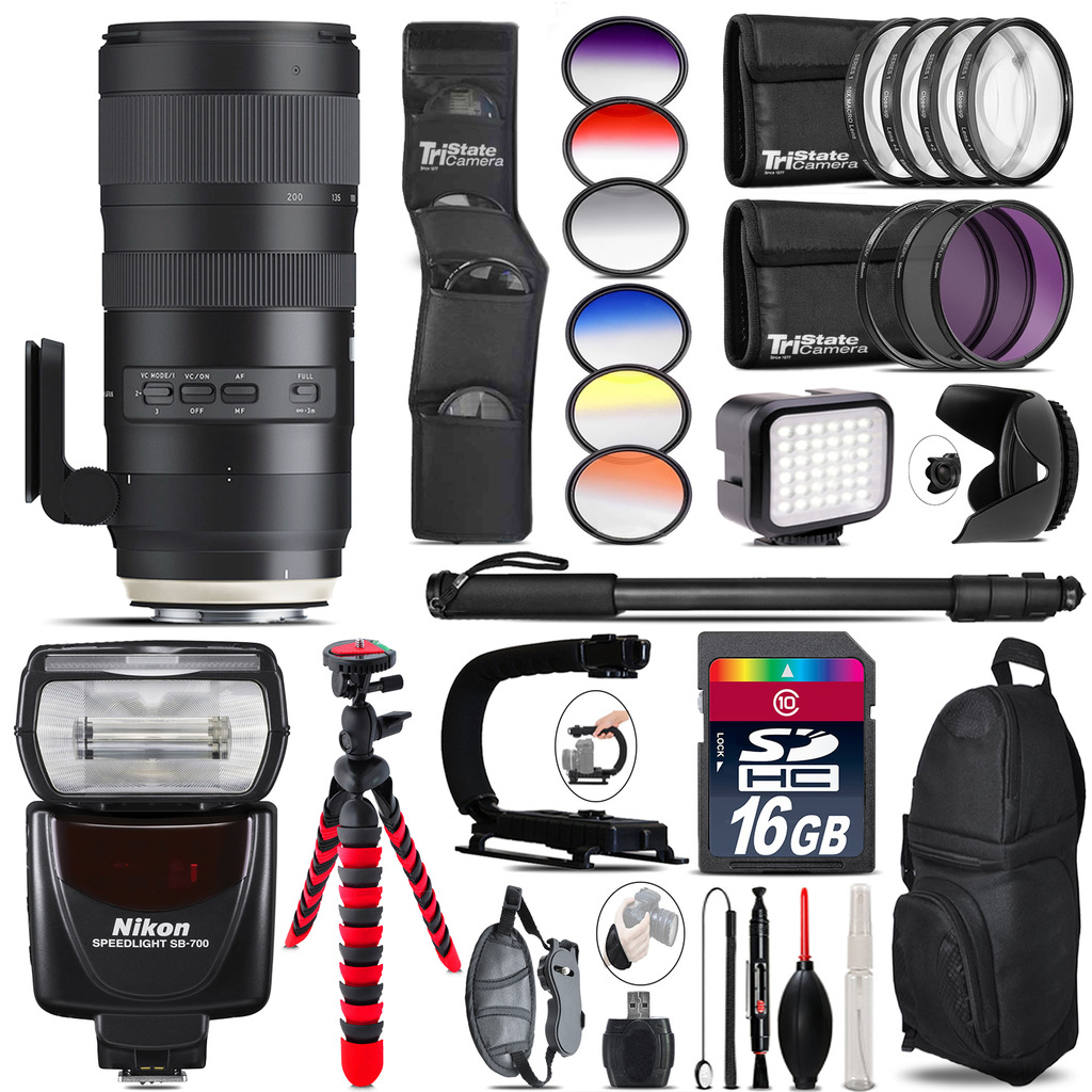 Tamron 70-200mm G2  for Nikon + Nikon SB700 Speedlite + LED - 16GB Accessory Kit *FREE SHIPPING*