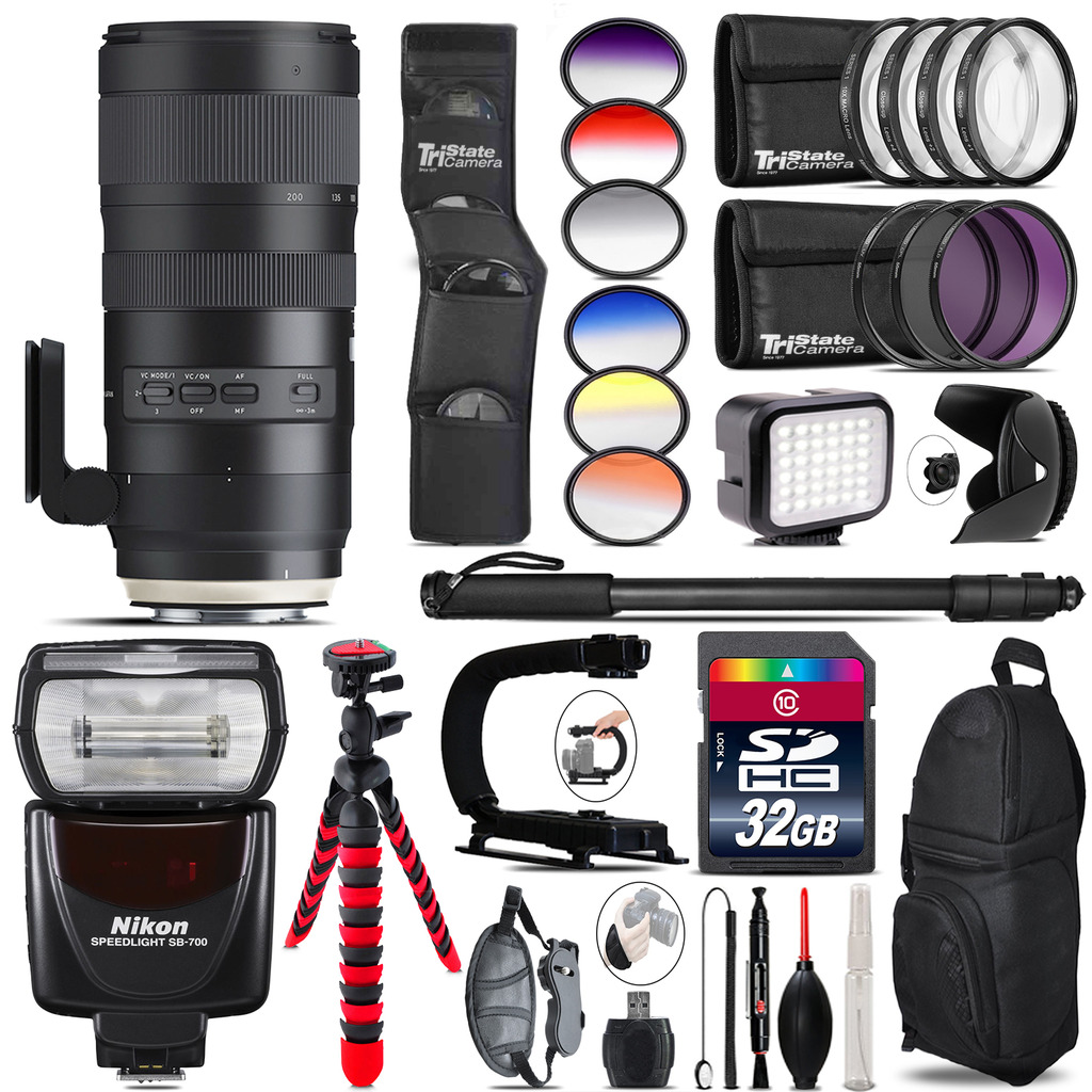 Tamron 70-200mm G2  for Nikon + Nikon SB700 Speedlite + LED - 32GB Accessory Kit *FREE SHIPPING*