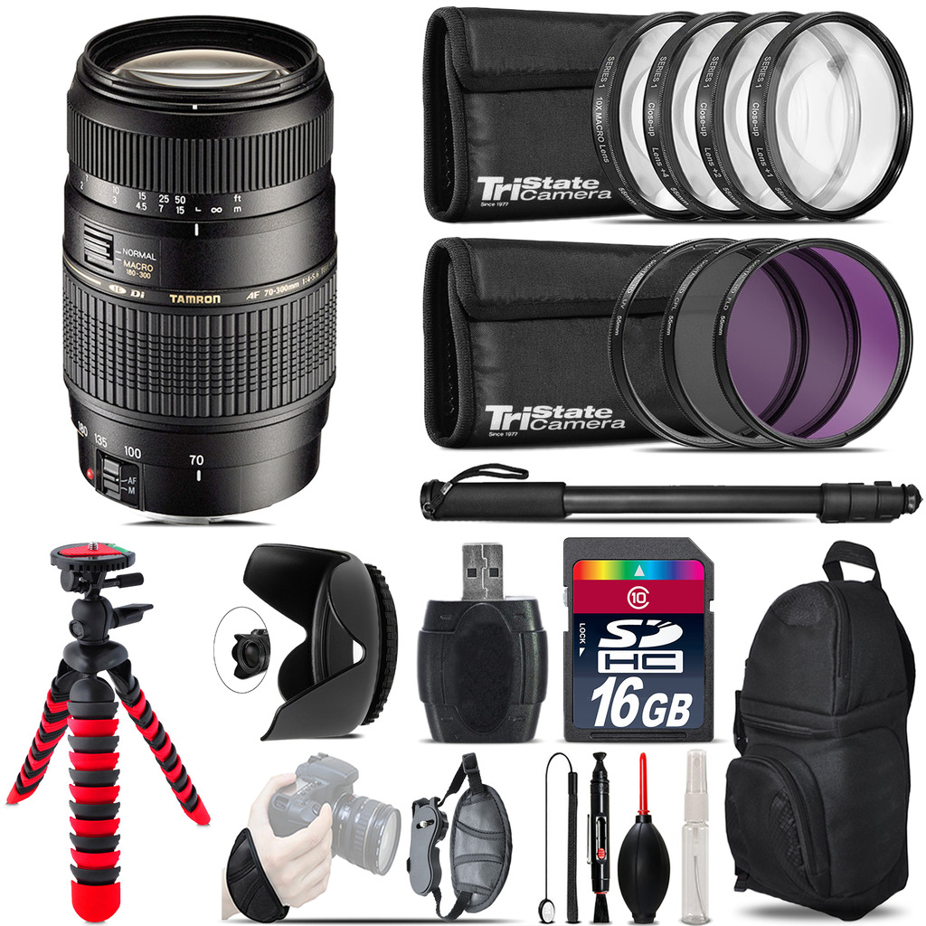 Tamron 70-300mm Lens for Canon + Macro Filter Kit & More - 16GB Accessory Kit *FREE SHIPPING*