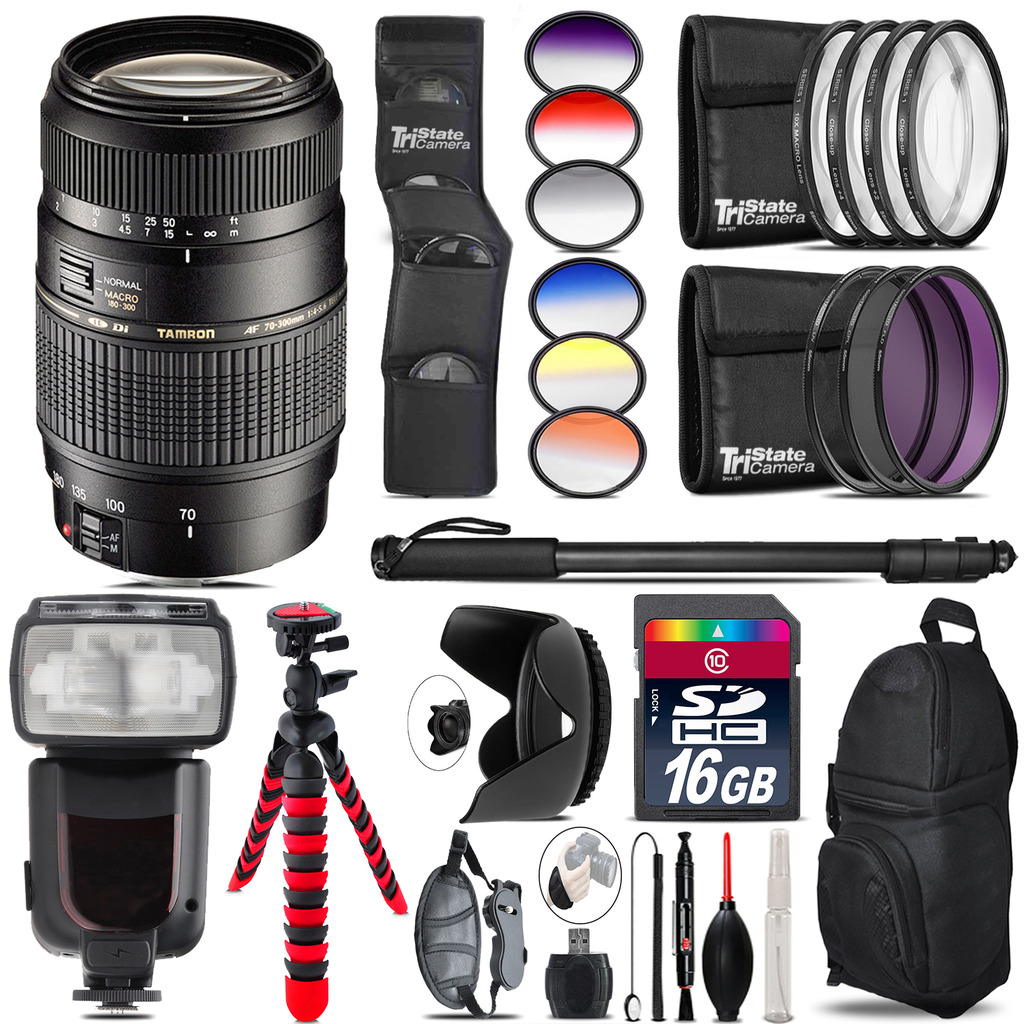 Tamron 70-300mm Lens for Canon + Pro Flash + Filter Kit - 16GB Accessory Kit *FREE SHIPPING*