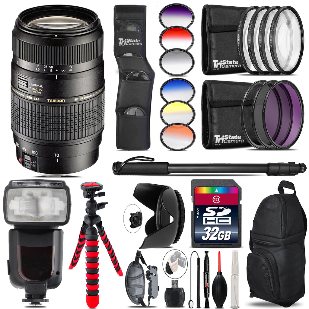 Tamron 70-300mm Lens for Canon + Pro Flash + Filter Kit - 32GB Accessory Kit *FREE SHIPPING*