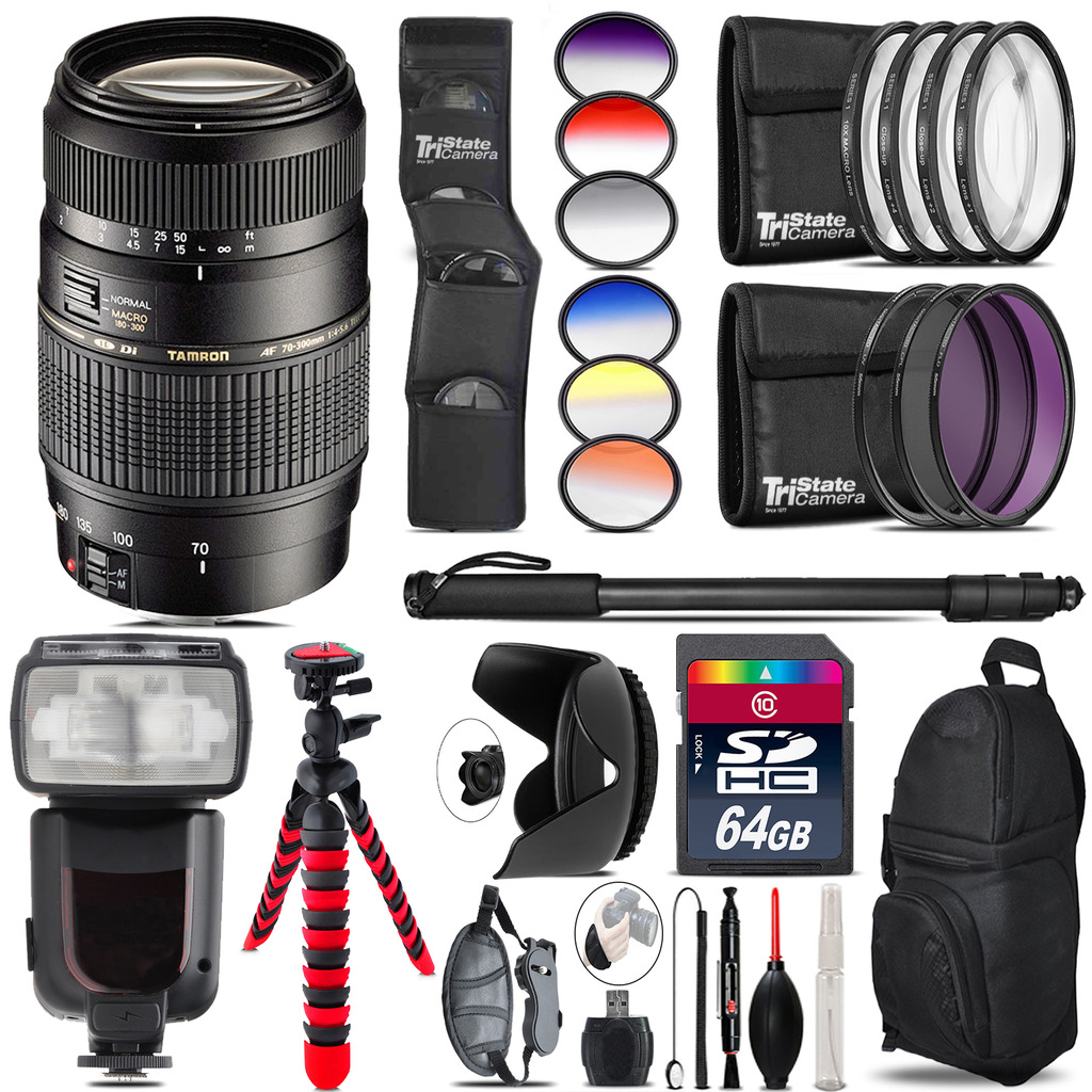 Tamron 70-300mm Lens for Canon + Pro Flash + Filter Kit - 64GB Accessory Kit *FREE SHIPPING*