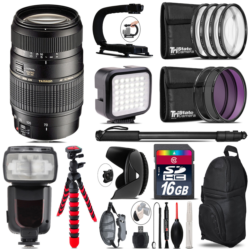 Tamron 70-300mm Lens for Canon - Video Kit + Pro Flash - 16GB Accessory Bundle *FREE SHIPPING*