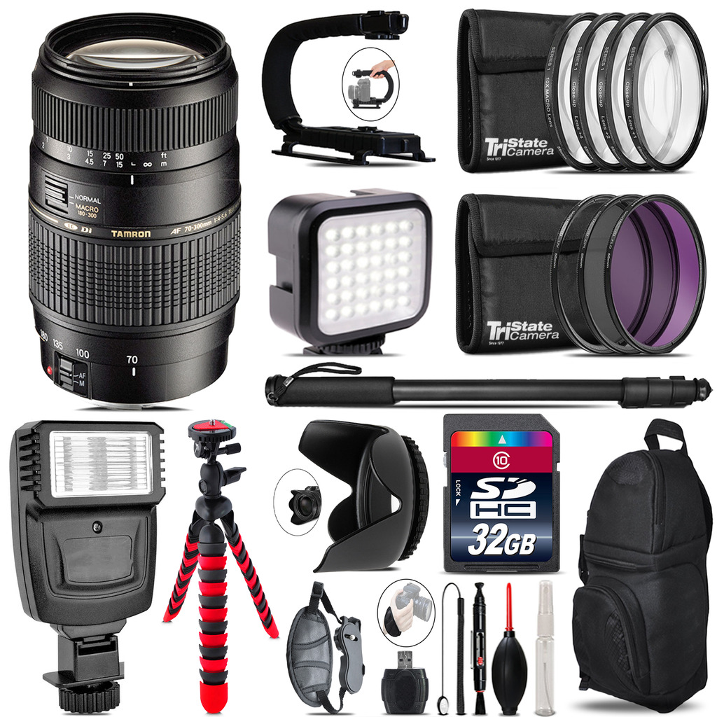 Tamron 70-300mm Lens for Canon - Video Kit +  Flash - 32GB Accessory Bundle *FREE SHIPPING*