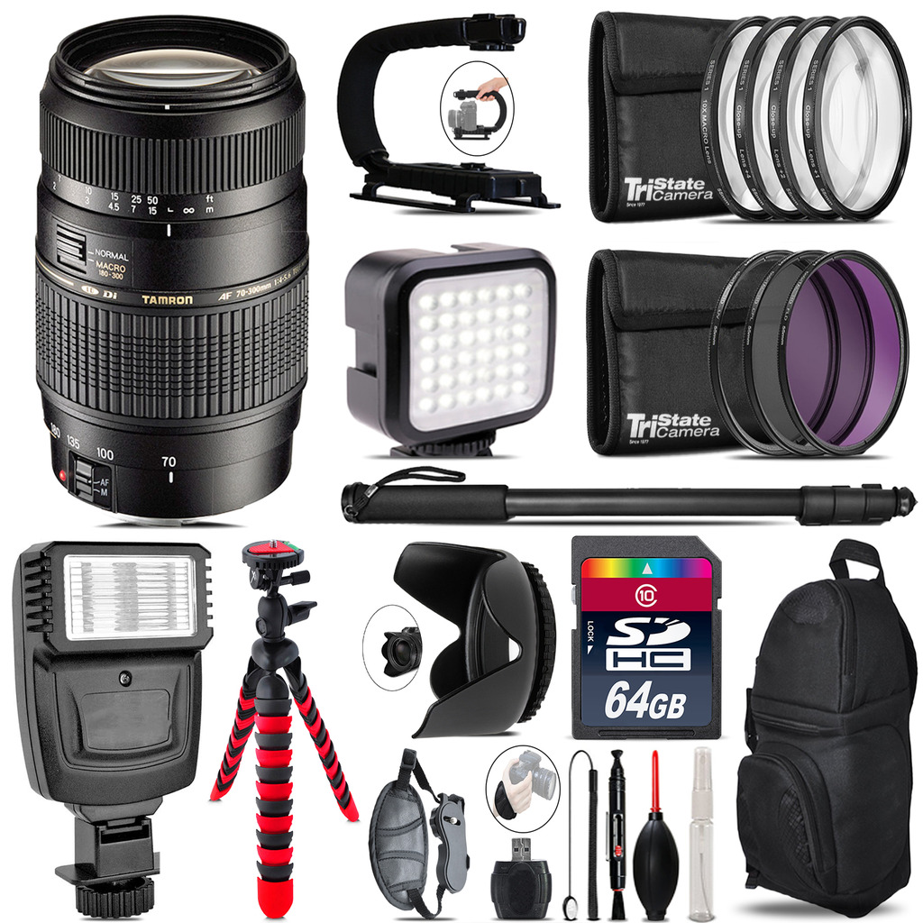 Tamron 70-300mm Lens for Canon - Video Kit +  Flash - 64GB Accessory Bundle *FREE SHIPPING*
