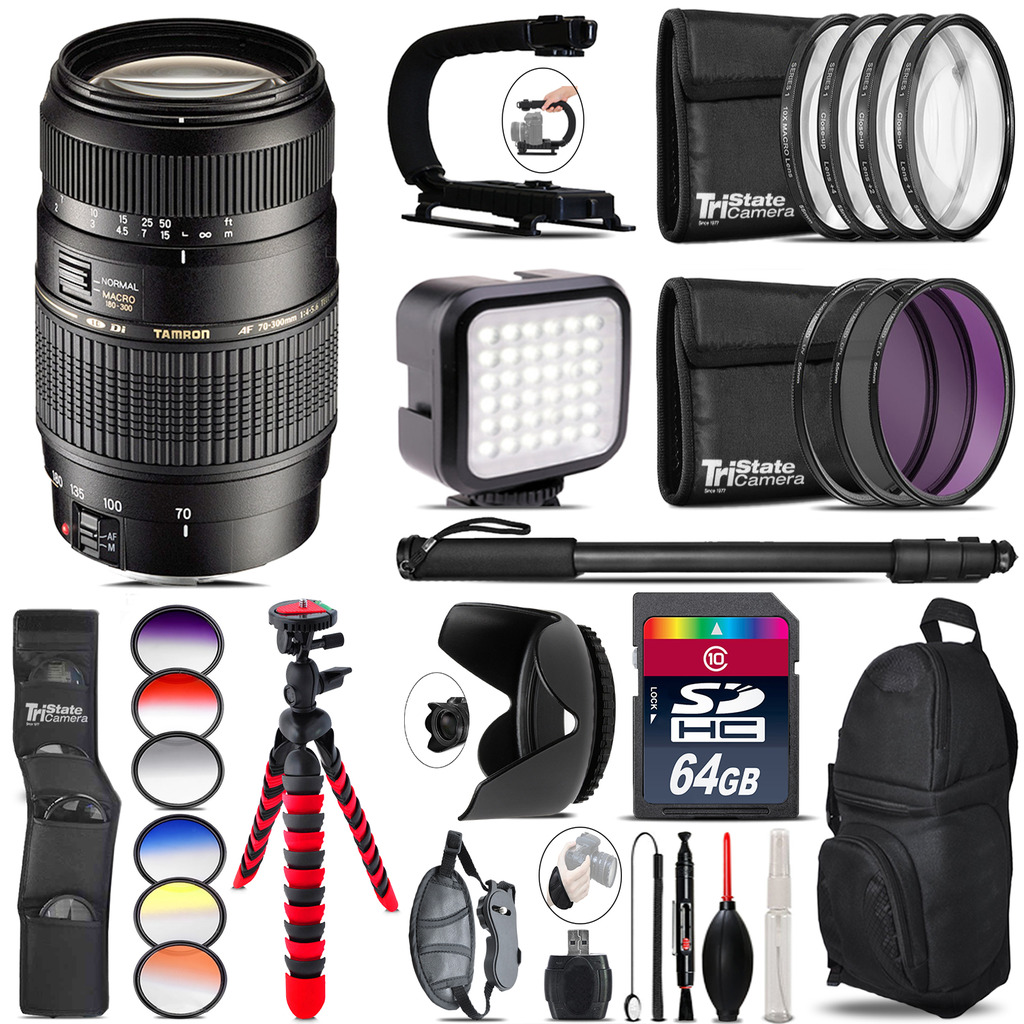 Tamron 70-300mm Lens for Canon - Video Kit + Color Filter - 64GB Accessory Kit *FREE SHIPPING*