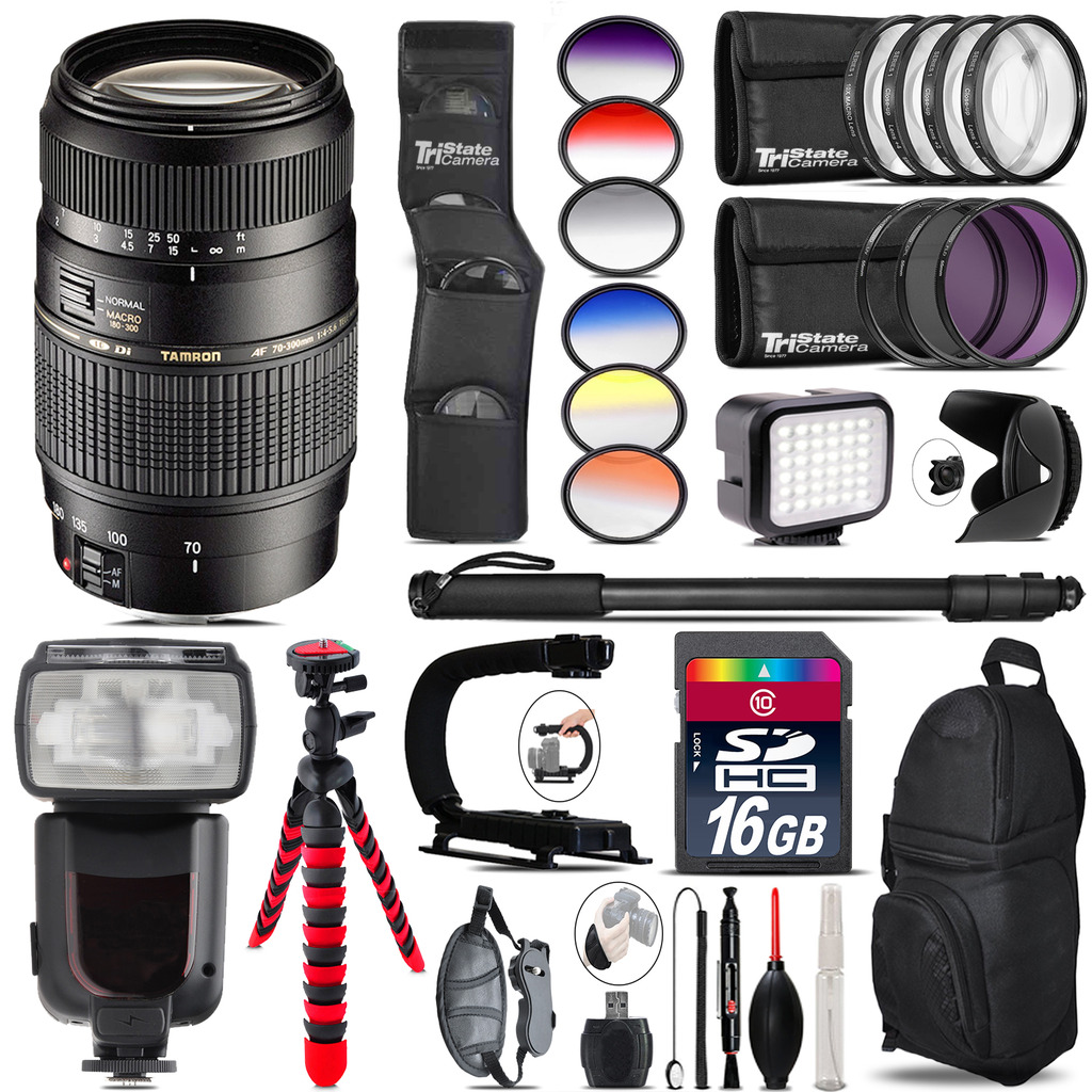 Tamron 70-300mm Lens for Canon + Pro Flash + LED Light - 16GB Accessory Bundle *FREE SHIPPING*