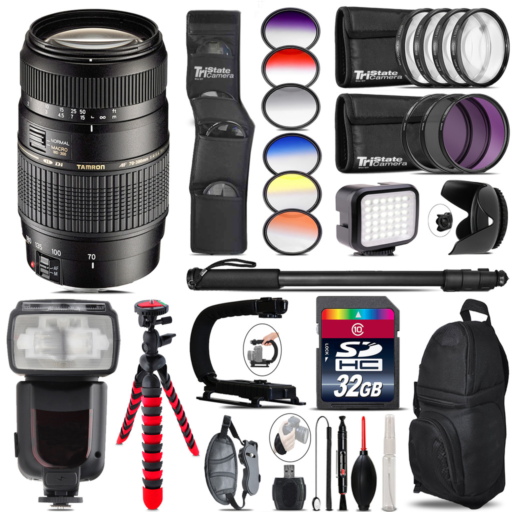 Tamron 70-300mm Lens for Canon + Pro Flash + LED Light - 32GB Accessory Bundle *FREE SHIPPING*