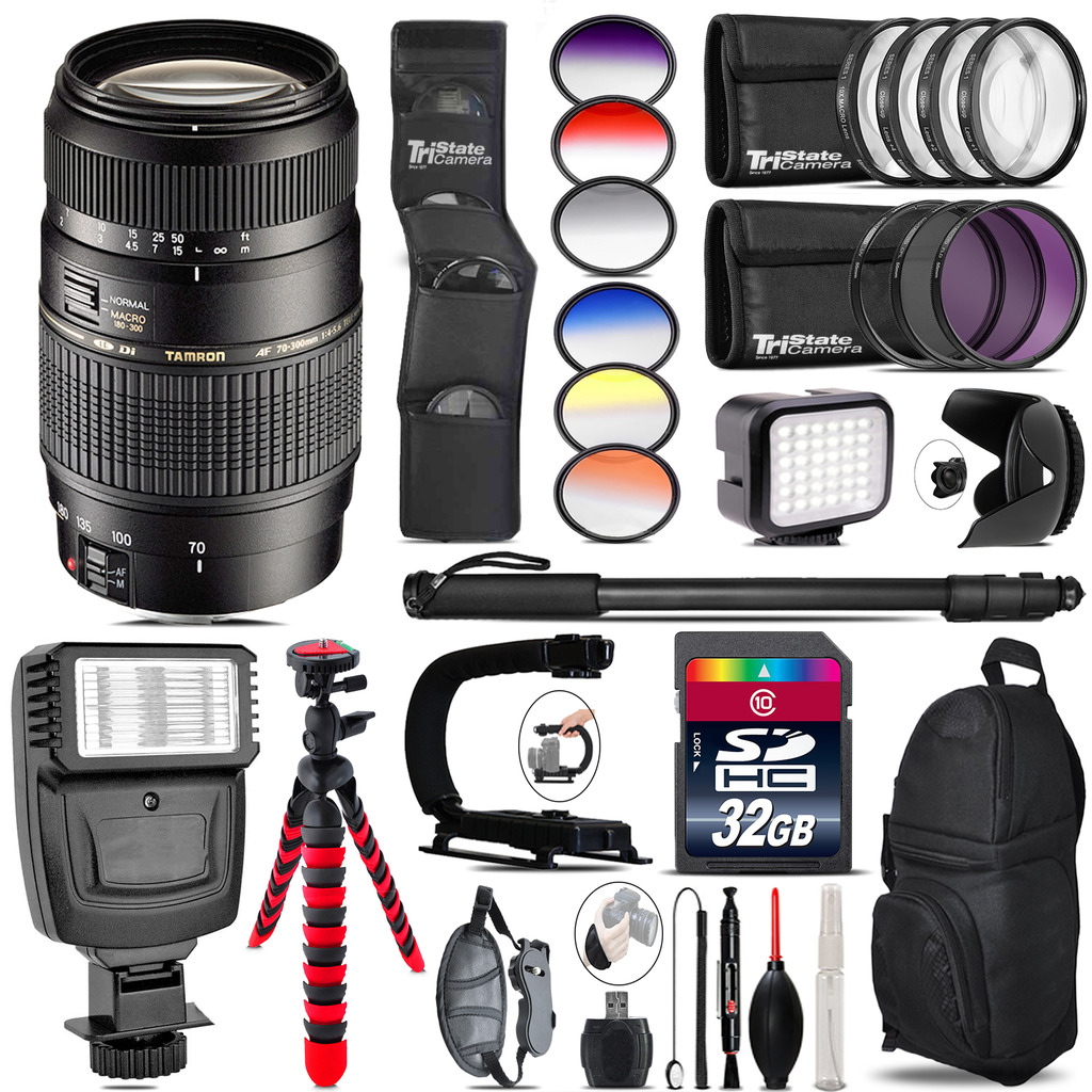 Tamron 70-300mm Lens for Canon + Color Set + LED Light - 32GB Accessory Bundle *FREE SHIPPING*
