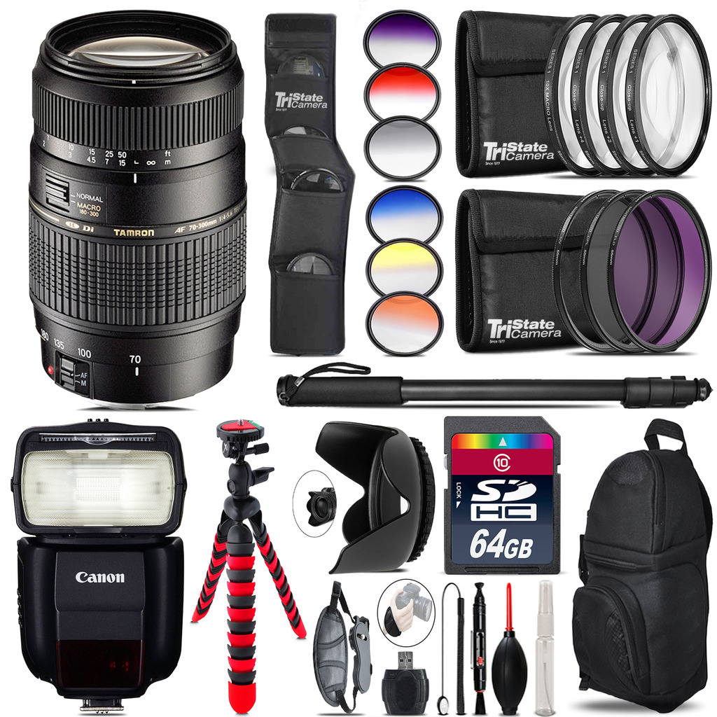 Tamron 70-300mm Lens for Canon + Speedlite 430EX III-RT  - 64GB Accessory Kit *FREE SHIPPING*