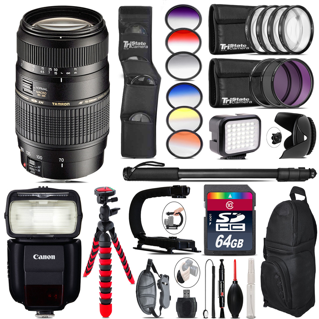 Tamron 70-300mm Lens for Canon + Speedlite 430EX + LED - 64GB Accessory Kit *FREE SHIPPING*