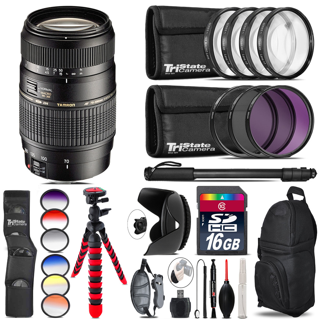 Tamron 70-300mm Lens for Nikon + Graduated Color Filter - 16GB Accessory Kit *FREE SHIPPING*