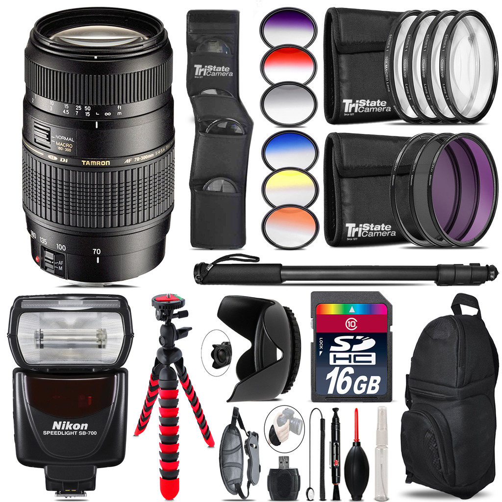 Tamron 70-300mm Lens for Nikon + SB-700 AF Speedlight - 16GB Accessory Kit *FREE SHIPPING*