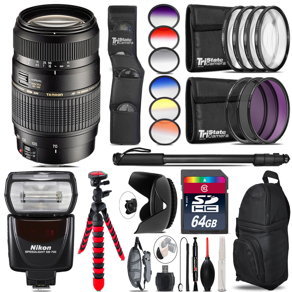 Tamron 70-300mm Lens for Nikon + SB-700 AF Speedlight  - 64GB Accessory Kit *FREE SHIPPING*