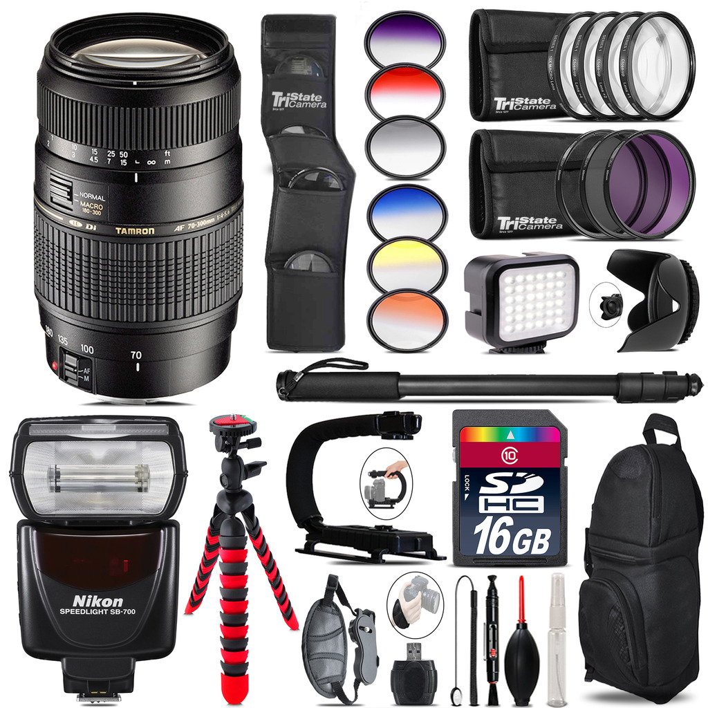 Tamron 70-300mm Lens for Nikon + Speedlite 430EX III + LED - 16GB Accessory Kit *FREE SHIPPING*
