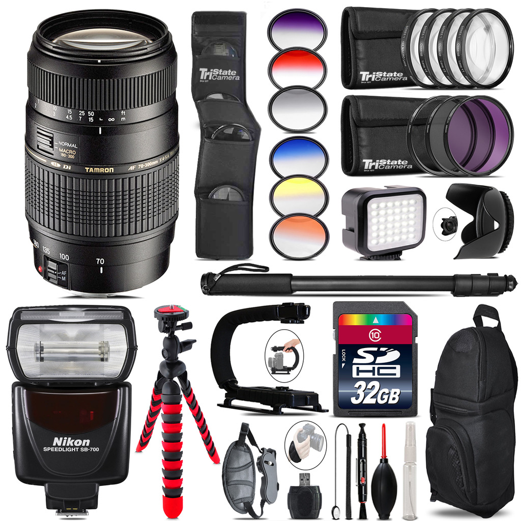 Tamron 70-300mm Lens for Nikon + Speedlite 430EX + LED - 32GB Accessory Kit *FREE SHIPPING*