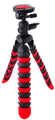 12-In Wrapable Legs Flexible Tripod w/Quick Release & Bubble Level - Red/Black *FREE SHIPPING*